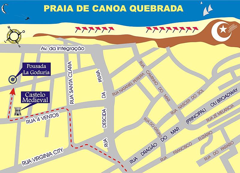 Canoa Quebrada Brasil Mapa Mapa de Canoa Quebrada